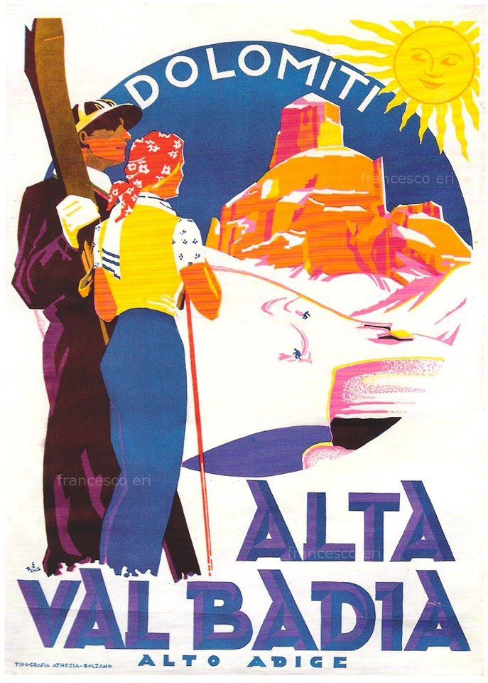 vintage ski poster Alta Val Badia Italia
