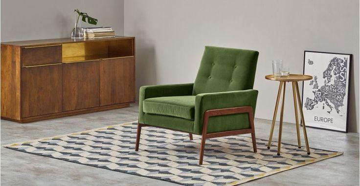 Cecil, fauteuil, velours vert impérial | made.com
