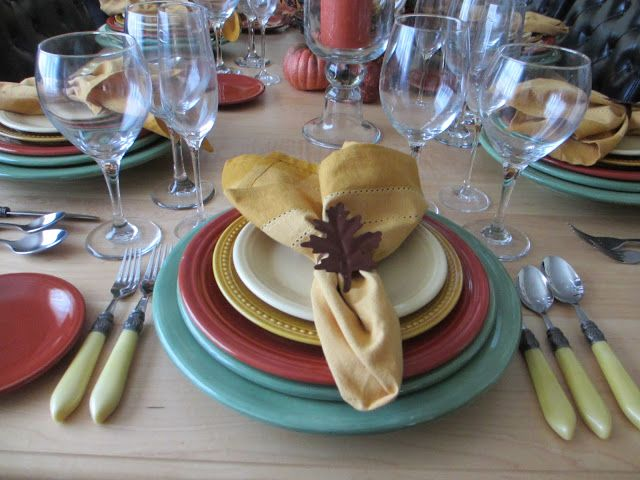 Autumn tablescape featuring Paprika and Ivory Fiesta(ware)