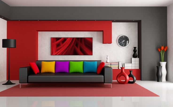 Download Beautiful Small Modern Contemporary Living Room With Modern Minimalist Sofa With Colorful Cushion Black Tulip Floor Lamp Floor Vase Red Backdrop Wall Thin Carpet Design Ideas HD Wallpapers