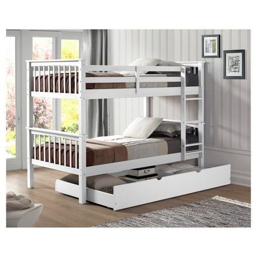 Save space in the kids' room while also adding a fun spark to their space with the Solid Wood Bunk Bed with Trundle Bed from Saracina Home. With the built-in trundle bed, this bunk bed is perfect for sleepovers or when guests are staying over. The simple design will keep it easily blending with existing furniture, while the guard rails and sturdy ladder keep everyone resting easy.