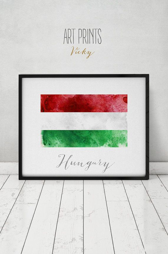 Hungary flag print art poster watercolor Wall by ArtPrintsVicky