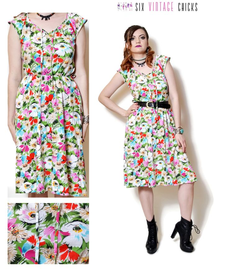 floral Dress women midi summer dresses hippie clothes sexy gifts vintage clothing boho chic short sleeve floral print 80s 90s clothing by SixVintageChicks on Etsy