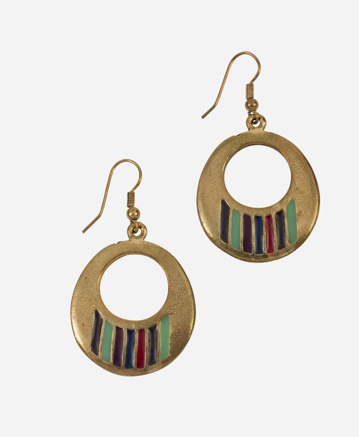 Jewel-toned enamel brightens up a pair of exotic hoop earrings.