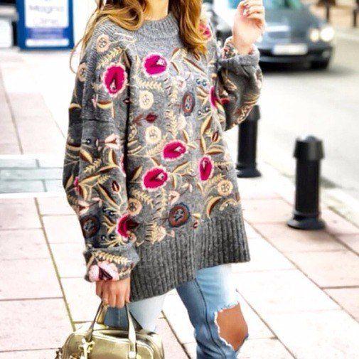 Вышивка на свитере: 7 стильных вариантов 2018! (фото)