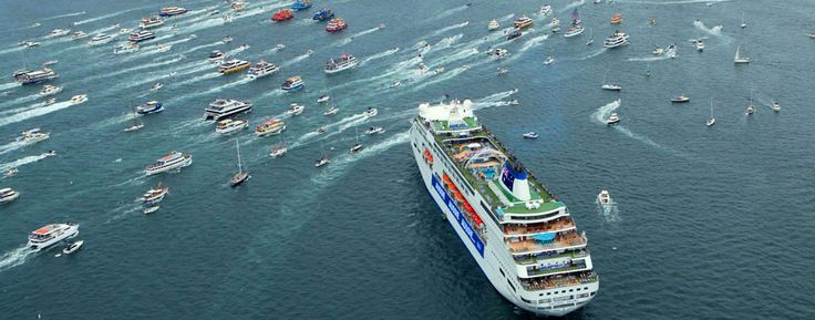 P&O Cruises' Pacific Pearl and Pacific Jewel anchor - Australia Day