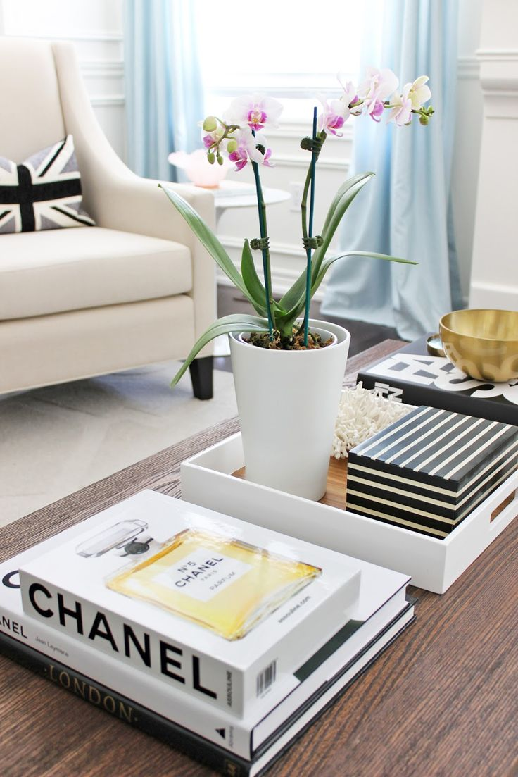 Phalaenopsis Orchid Chanel Coffee Table Books