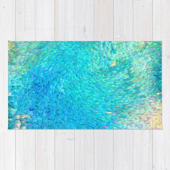 Ocean Reef Badematte  abstrakte Ozean grün von ArtfullyFeathered