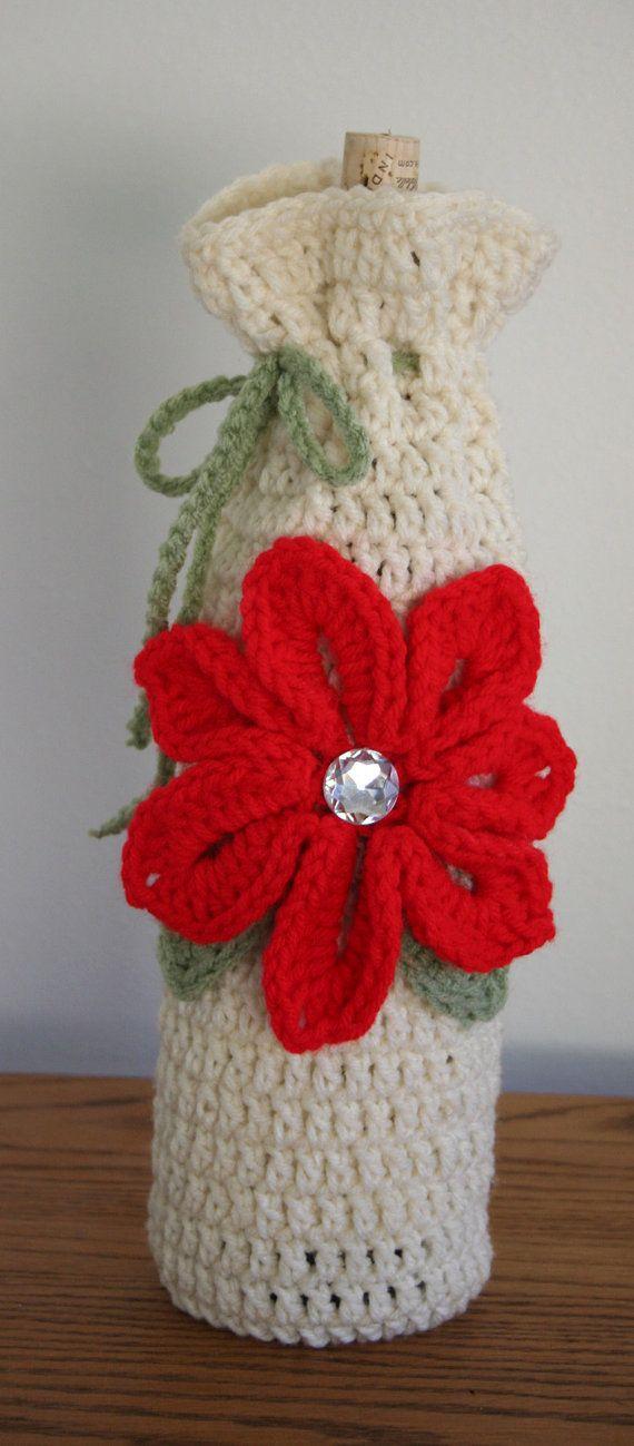 Pointsetta crochet wine tote by MarysStitchShop on Etsy, $6.99