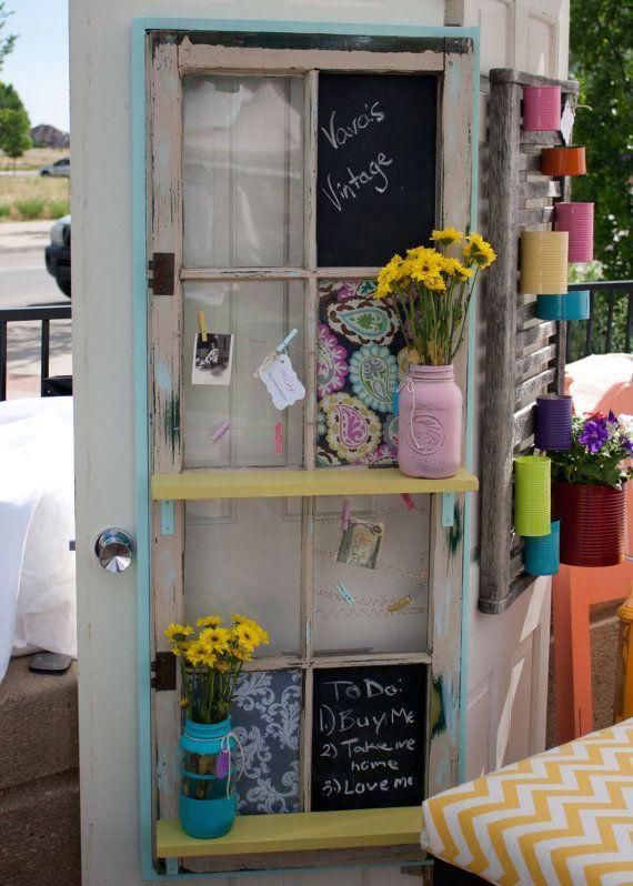 Sweet Caroline vintage window repurposed to a