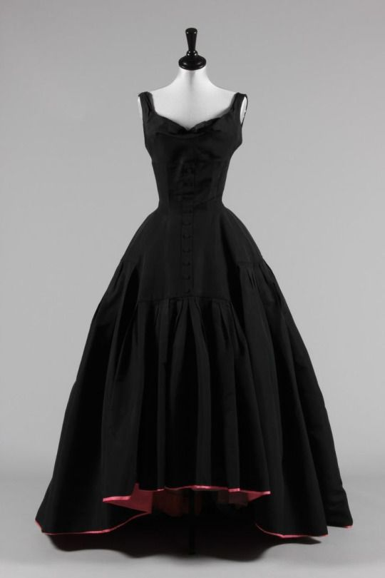 Button Front Silk Faille Ball Gown with Contrasting Lining, ca. 1950  Pierre Balmain  via Kerry Taylor Auctions