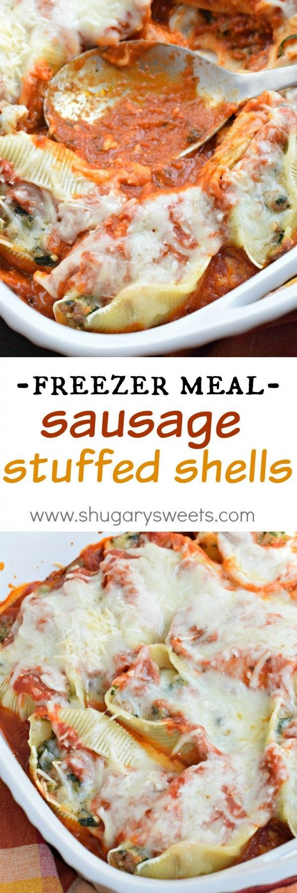 This Sausage Stuffed Shells recipe is delicious, easy and makes a great freezer meal for a quick dinner for family and friends!