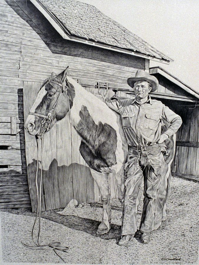 A graphite of a friend's grandfather. I believe in the photo reference, he was getting ready to ride in a parade to celebrate the arrival of Teddy Roosevelt to Miles City, Montana.