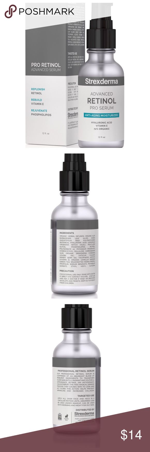 RETINOL VITAMIN C E SERUM 20% HYALURONIC ORGANIC Hyaluronic Acid 20% Vitamin C. Strexderma - 1.2 FL OZ. 3X More Effective Retinol & Vitamin E aid the reproduction of skin moisture, reduce pore sizes to stop Acne, Age spots, Dry Skin & Wrinkles!Synergistically blended Pure Retinol and Organic Vitamin E is the core of Retinol moisturizing anti aging serum. These two powerhouse ingredients are the most effective way to naturally retain 18X more of your skins moisture level. Clinical grade…