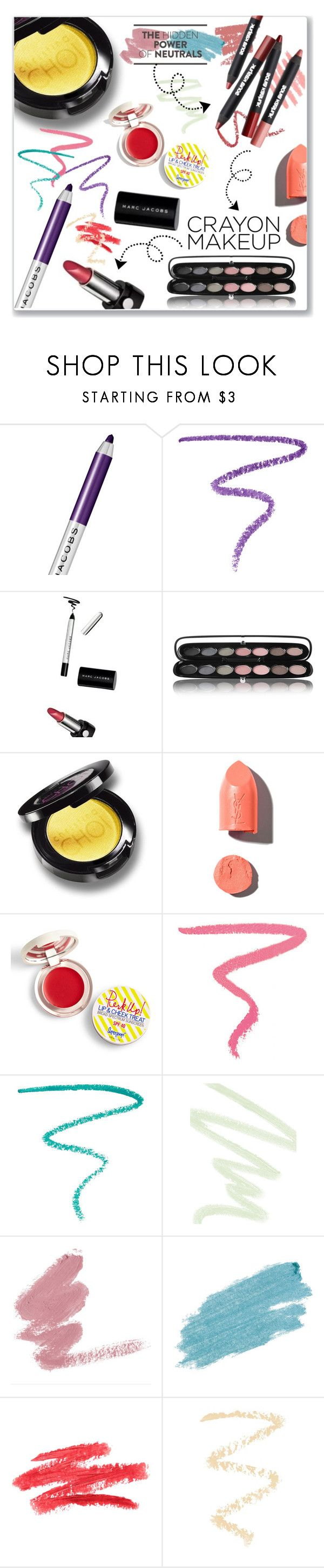 """Crayon Makeup"" by achernar ❤ liked on Polyvore featuring beauty, Marc Jacobs, PUR, Supergoop!, Ilia, Dolce&Gabbana, Jane Iredale and Topshop"