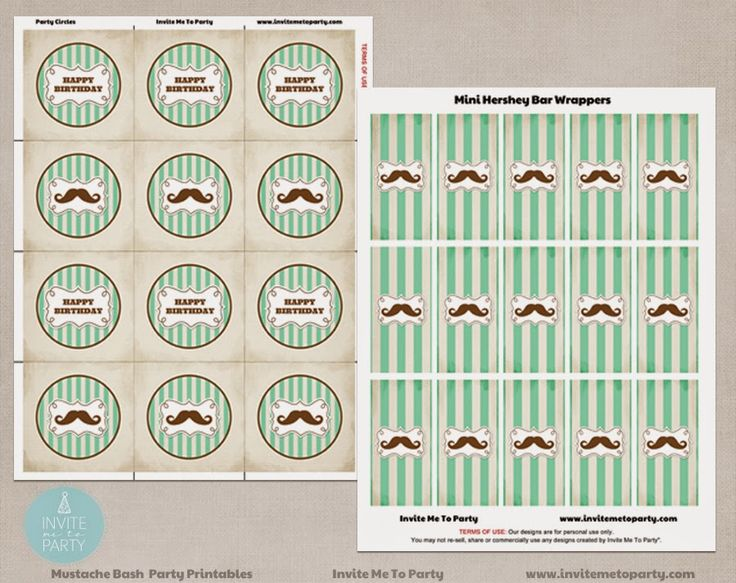 Moustache Bash Cupcake Toppers and Mini Hershey Bar Wrappers Invite Me To Party: Mustache Bash Party / Little Man Party