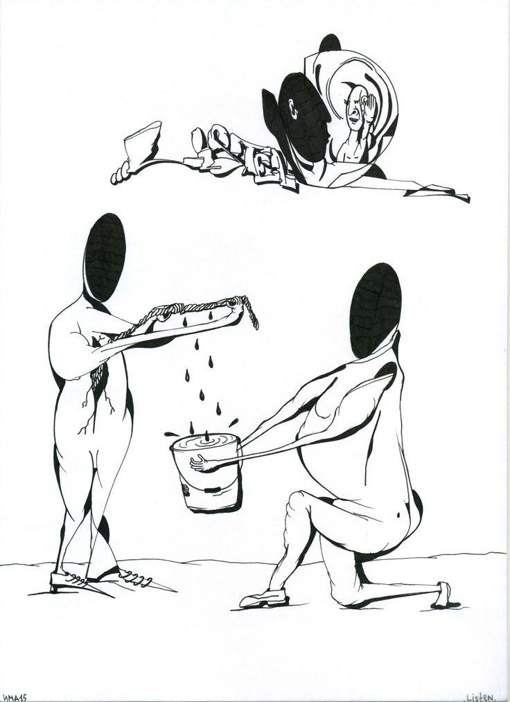 """Maxim Ima, """"Listen"""", paper, mixed media, 21 x 30, 2015 #современное #искусство #дизайн #интерьер #design #decor #interior #графика #живопись #contemporaryart #design #streetart #стритарт #abstraction #современноеискусство #арт #maximima"""