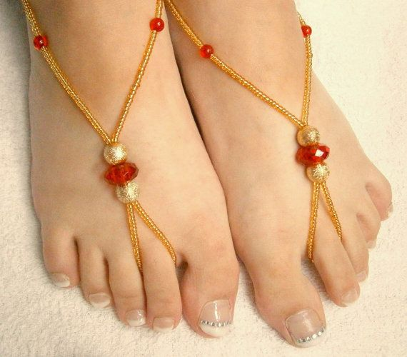Beaded Barefoot Sandals  Red and Gold Foot by GlamorousSparkle