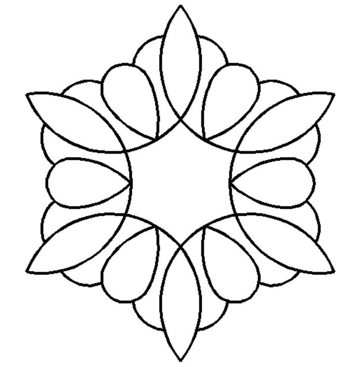 Quilt Stencil Kaleidoscope By Needham, Cindy  - 6in x 7in Kaleidoscope Block continuous line stencil. Stencil is made of Mylar plastic with the displayed design cut into it.