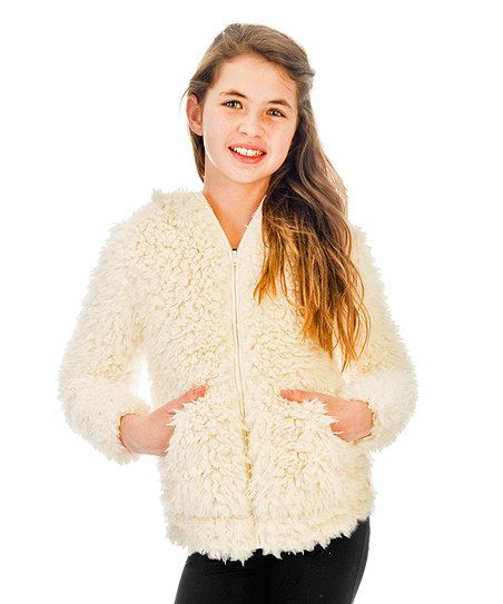 Limeapple Cream Faux Fur Hoodie - Girls | zulily