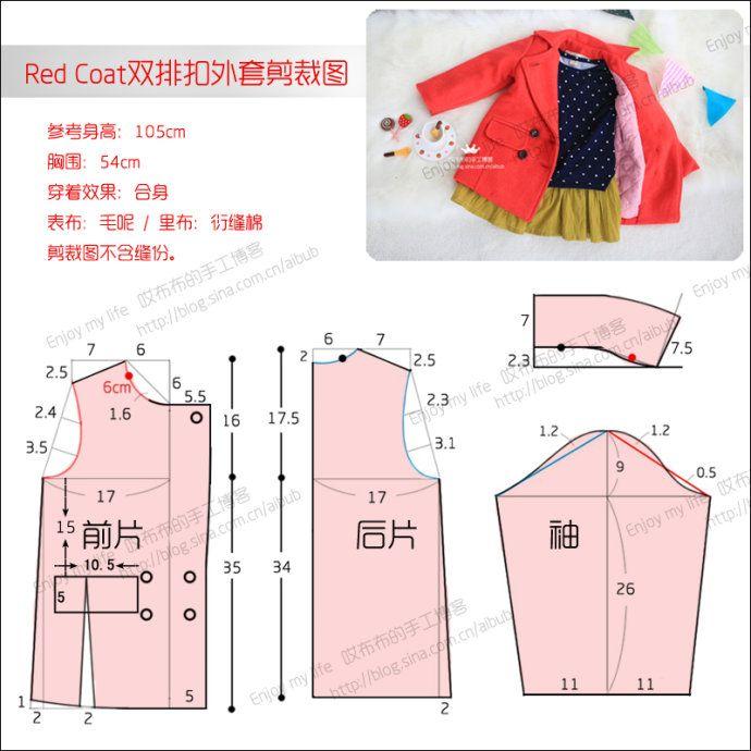 [转载]Red<wbr>Coat双排扣翻领外套<wbr><wbr>附剪裁图