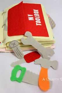 * Quiet Book-Tool Box tutorial (site includes links to the rest of the quiet book pages featured) She used stiff felt and doubled it up by using iron on adhesive and ironing 2 pieces of felt together prior to cutting out the shapes.