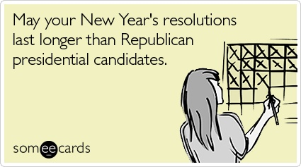 Good luck, everyone!Election Years, Years Resolutions, Ahh Election, Candid Resolutions, Pretty True, Republican Candid, New Years, Kardashian Marriage, Funny Ecards