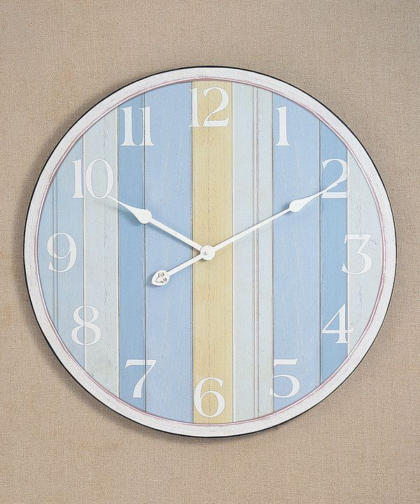 Nautical stripe wall clock nautical stripes clock and for Seashell wall clock