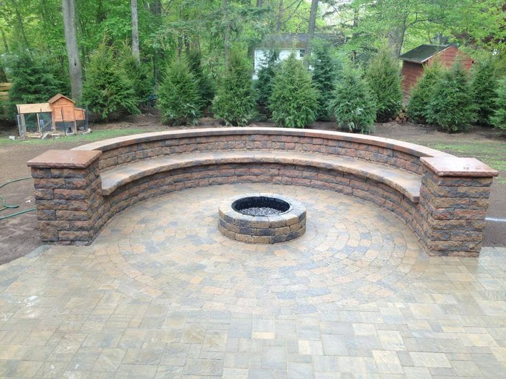 Custom Hardscape Bench And Fire Pit In Webster Ny Using Belgard Pavers In 2019