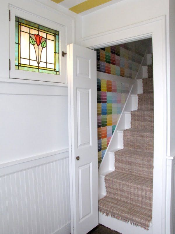 Paint chip wall covering, nice detail for small spaces.