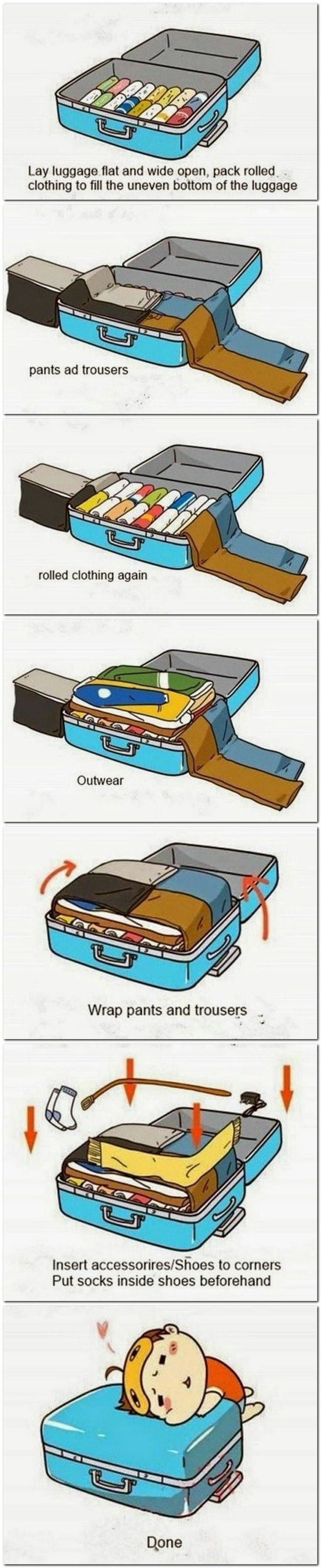 Packing tips, to make fitting everything in your suitcase a breeze!! Make it carry-on for budget travel! #travel #luggage