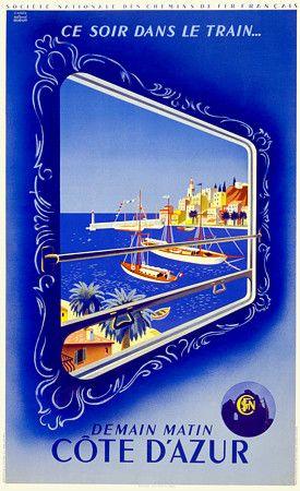 Cote D'Azur. Demain Matin'by Hugun French France Vintage Travel Posters Art Prints