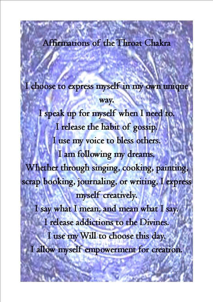 Throat Chakra Affirmations: pics and words were found online. balancedwomensblog.com