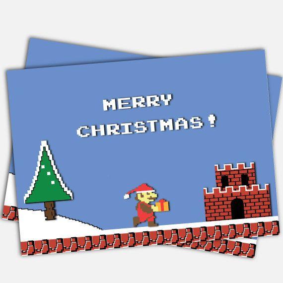 Classic Super Mario Bros Christmas Card. Original by JacobyDesign