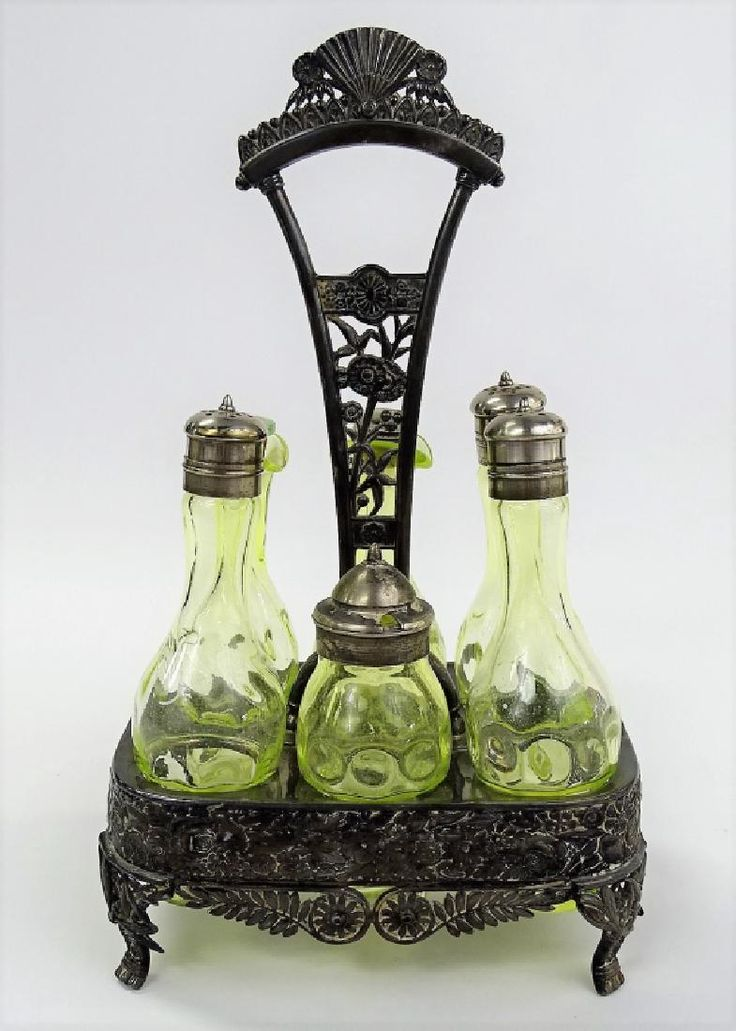 VICTORIAN 6 PIECE 'VASELINE GLASS' CONDIMENT SET.