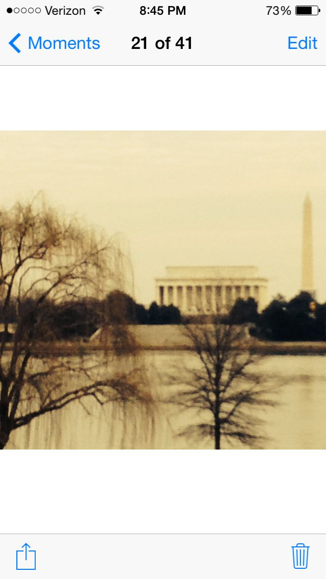 This is a pic I got why driving in my car in D.C. It's the Lincoln Memorial And Washington Memorial