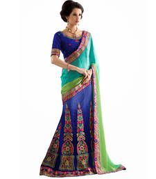Buy Blue embroidered jacquard saree with blouse lehenga-saree online