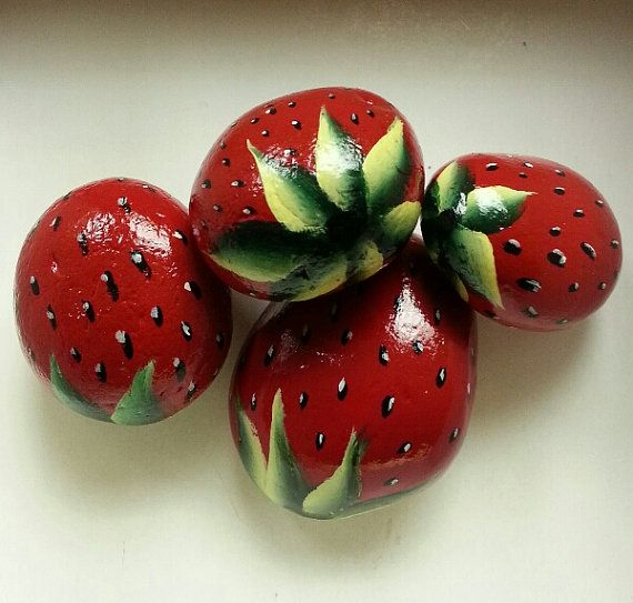 Hanpainted Strawberries River Rocks Garden Home decor Juicy Red Strawberry rocks Hand painted stone art 3D NEW