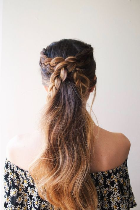 Criss cross braid pony tail