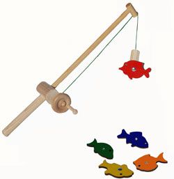 Magnetic wooden fishing toy with 5 fish this looks like for Kids fishing poles