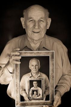 A portrait of four generations - but could just as easily (although it would take a lifetime) be done of one person as they age. Neato idea.