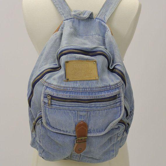 90s Grunge denim Backpack Boho backpack by SHABBYBABEVINTAGE, $45.00