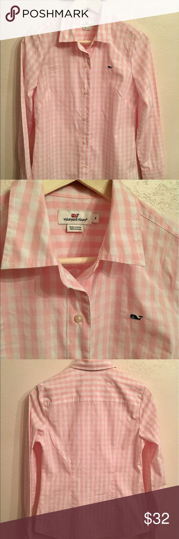 Vineyard Vines women's pink gingham oxford Sz 4 Vineyard vines women's pink gingham oxford. Size 4- long sleeve button down front. Never been worn- extra button attached. Vineyard Vines Tops Button Down Shirts
