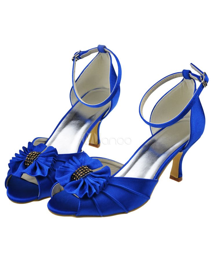 Chaussure de mariée en satin bleu à petit talon avec noeud et strass - Milanoo.com