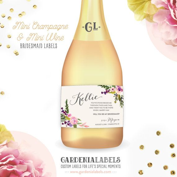 Will You Be My Bridesmaid Mini Champagne Label by GardeniaLabels
