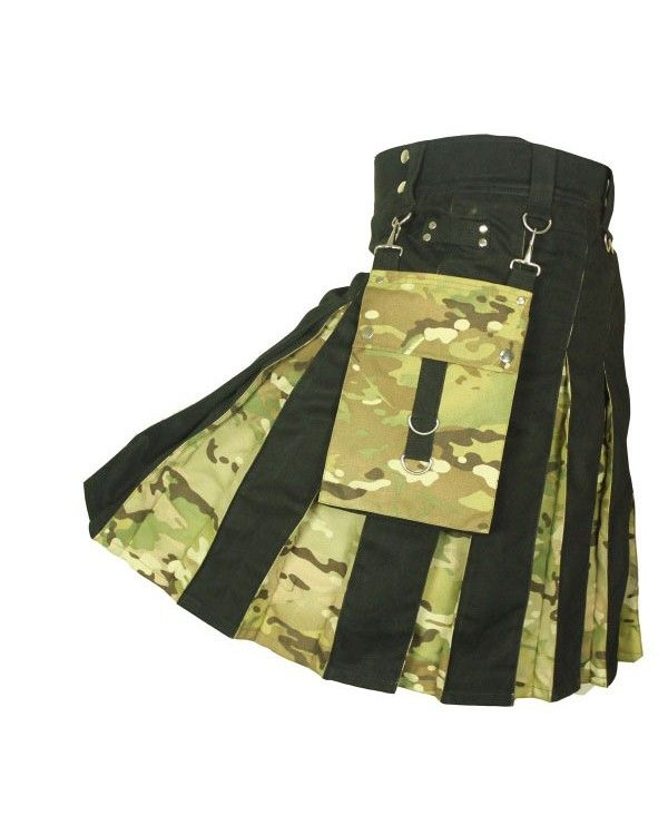 Camouflage is usually worn to blend in with your surroundings, but in the case of the Black #ModernKilt with Camo Box Pleats #KiltsForMen #CamouflageKilt #KiltsForSale