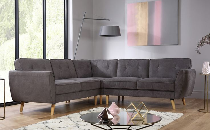 £899 Harlow Grey Fabric Corner Sofa