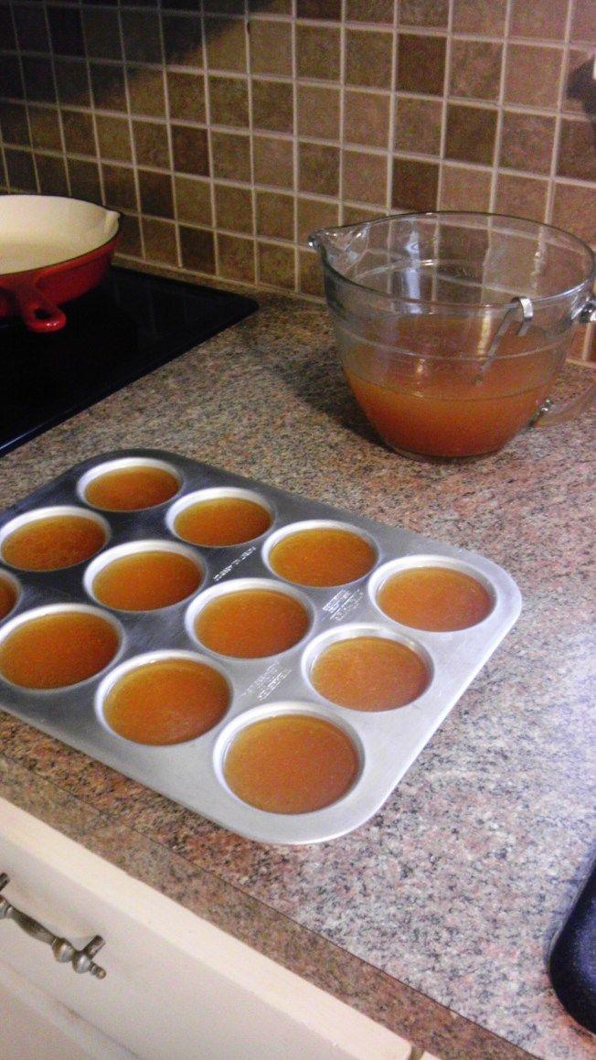Crock pot chicken stock recipe. Freeze in muffin tins, genius!