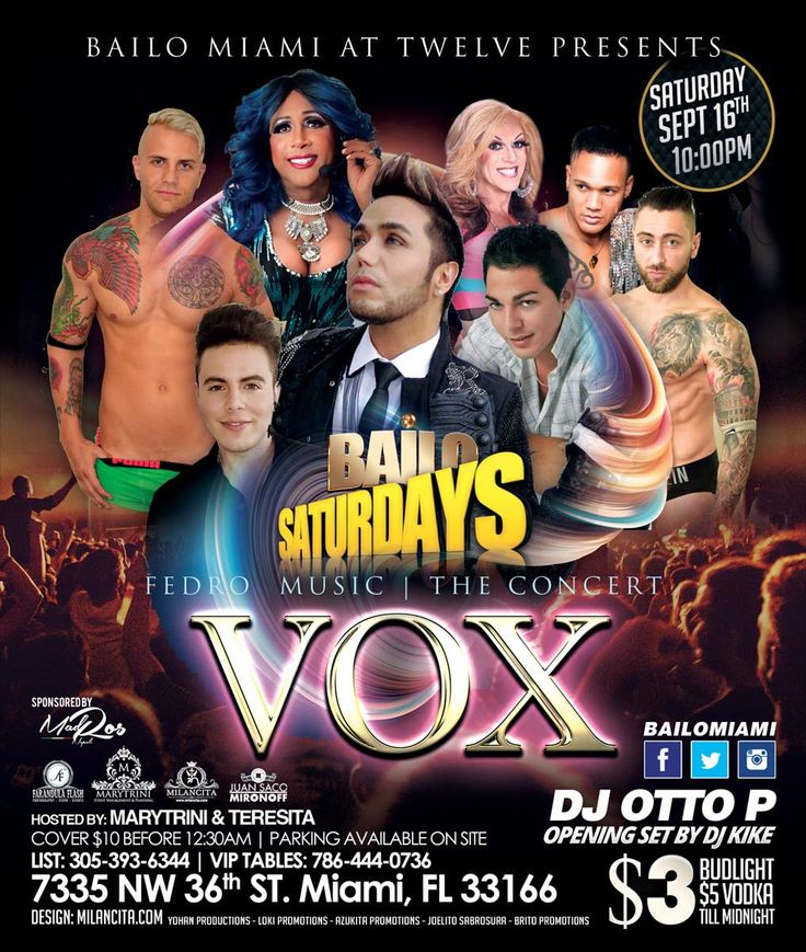 """THIS Saturday, September 16th 10PM BAILO MIAMI is proud to Present on our New stage a Star that make our Latin community Proud wherever He may appear.. FEDRO has prepared """"VOX"""" an Incredible and energetic Show for all of you. Definitely this will be a night you can not miss.!!! . - Doors Open at 10:00PM - List for this Event is available at 305-393-6344 - VIP Tables strongly recommended at 786-444-0736 - Hosted by no other than The Queen... MARYTRINI, The Hottest Dancers from all around the…"""