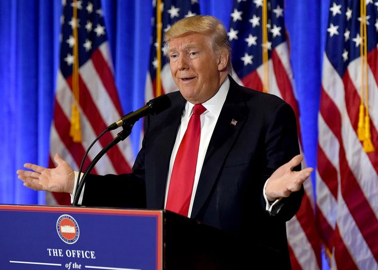US President-elect Donald Trump speaks during a press conference January 11, 2017 at Trump Tower in New York.